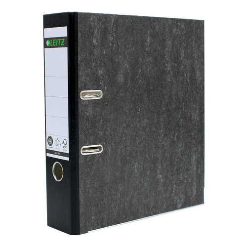"Leitz A4 Size, R80 Black Marbled 2-Ring Binder, 3"" Spine, European Ring Spacing"