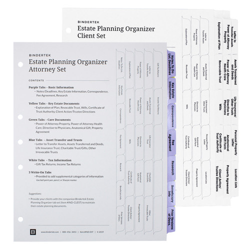Estate Planning Attorney and Client Index Tab Set Pack