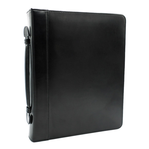 "Leather Zippered 3-Ring Binder with Handle, 2"" Spine"
