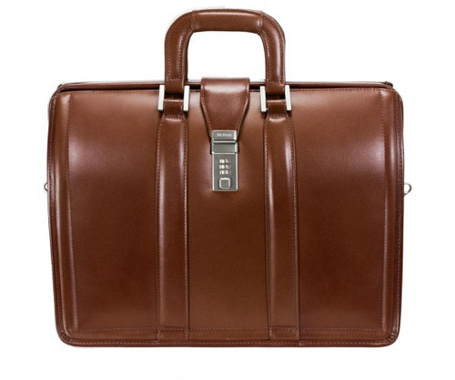 "Morgan Leather Litigator Briefcase, Fits 17"" Laptop"
