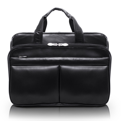 "Walton Leather Expandable Briefcase, Fits 17"" Laptop"