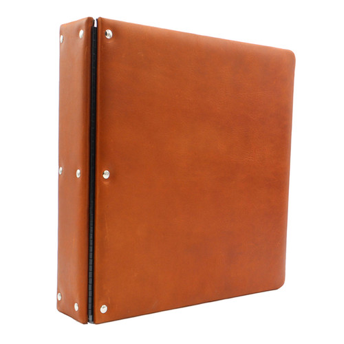 Premium Leather 3-Ring Binder, D-Shaped Rings, Cognac Product Photo