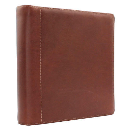 Premium Leather 3-Ring Binder, standing up
