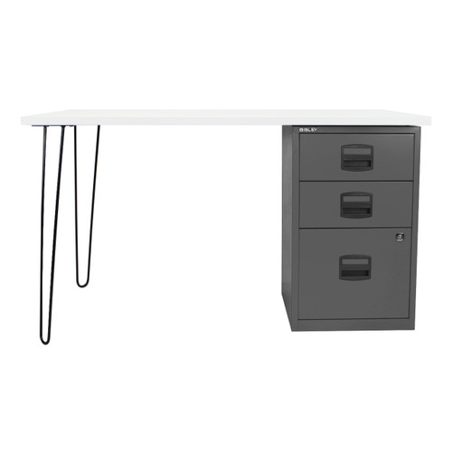 Bisley+ Desk, 3-Drawer Cabinet