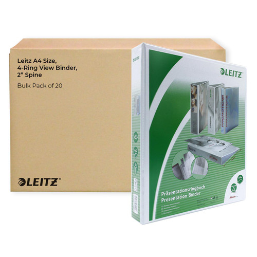 """Leitz A4 Size, 4-Ring View Binder, 2"""" Spine, Bulk Pack of 20"""