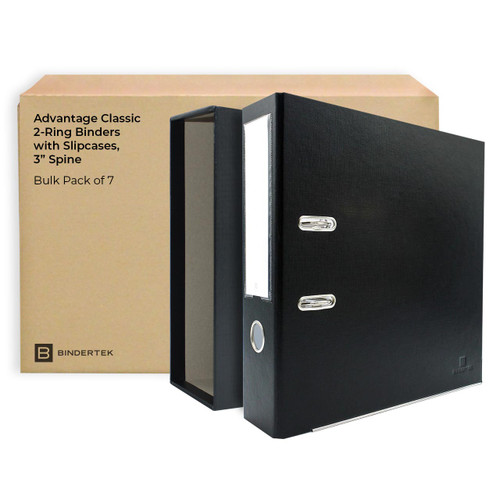 """Advantage Classic 2-Ring Binders with Slipcases, 3"""" Spine, Pack of 7"""