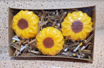 3-Pack Large SUNFLOWER  Wax Melts   Wax Embeds for Candles   4.5 oz