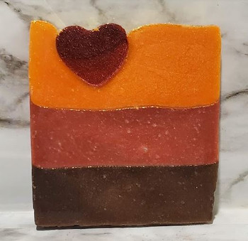 Colors in this soap:  Gingerbread brown, Crimson Red Wine, Adobe Orange with heart embed