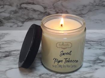 SWEET PIPE TOBACCO Soy Candle 14 oz jar