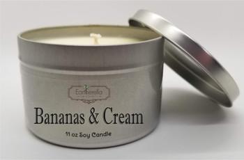 BANANAS & CREAM Soy Candle  11 oz Tin