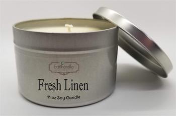 FRESH LINEN Soy Candle 11 oz Tin