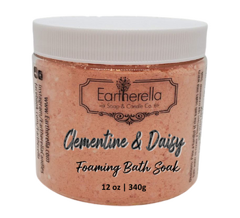 CLEMENTINE & DAISY scented Fizzy Bath Soak with Epsom salts, Large 12 oz jar