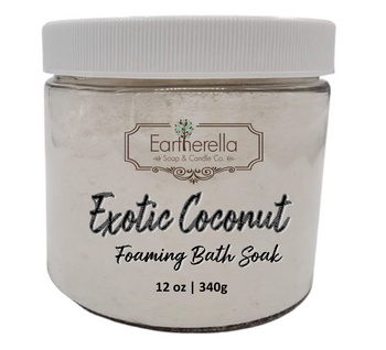 EXOTIC COCONUT scented Fizzy Bath Soak with Epsom salts, Large 12 oz jar