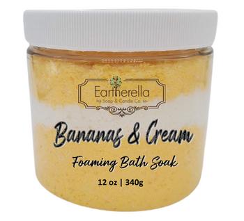BANANAS & CREAM scented Fizzy Bath Soak with Epsom salts, Large 12 oz jar