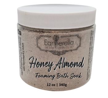 HONEY ALMOND scented Fizzy Bath Soak with Epsom salts, Large 12 oz jar