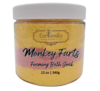 MONKEY FARTS scented Fizzy Bath Soak with Epsom salts, Large 12 oz jar