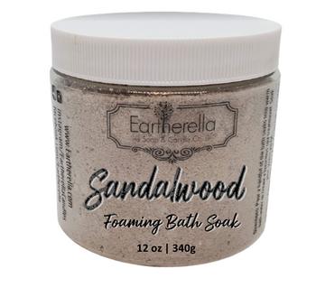 SANDALWOOD scented Fizzy Bath Soak with Epsom salts, Large 12 oz jar