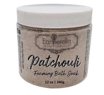 PATCHOULI scented Fizzy Bath Soak with Epsom salts, Large 12 oz jar