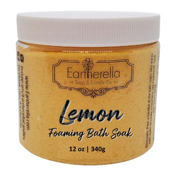 LEMON scented Fizzy Bath Soak with Epsom salts, Large 12 oz jar