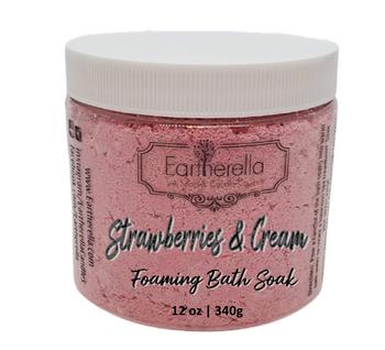 STRAWBERRIES & CREAM scented Fizzy Bath Soak with Epsom salts, Large 12 oz jar