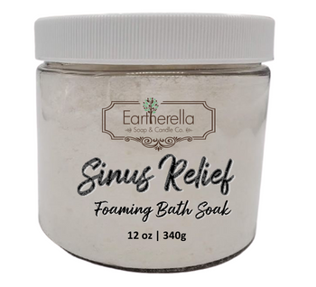 SINUS RELIEF scented Fizzy Bath Soak with Epsom salts, Large 12 oz jar
