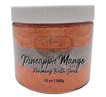 PINEAPPLE MANGO scented Fizzy Bath Soak with Epsom salts, Large 12 oz jar