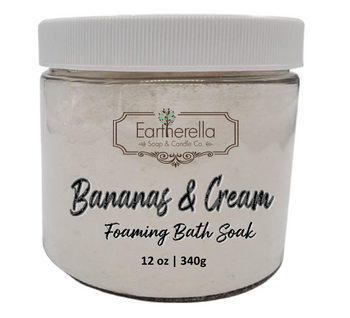 Naked BANANAS & CREAM scented Fizzy Bath Soak with Epsom salts, Large 12 oz jar