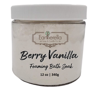 Naked BERRY VANILLA scented Fizzy Bath Soak with Epsom salts, Large 12 oz jar
