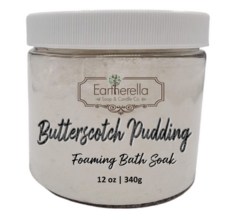 Naked BUTTERSCOTCH PUDDING scented Fizzy Bath Soak with Epsom salts, Large 12 oz jar
