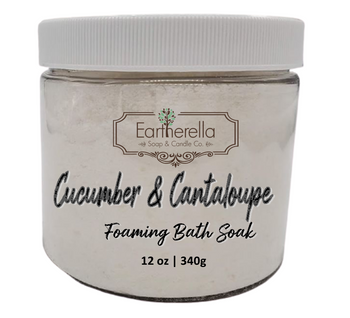 Naked CUCUMBER & CANTALOUPE scented Fizzy Bath Soak with Epsom salts, Large 12 oz jar