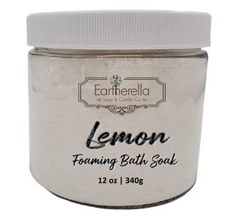 Naked LEMON scented Fizzy Bath Soak with Epsom salts, Large 12 oz jar