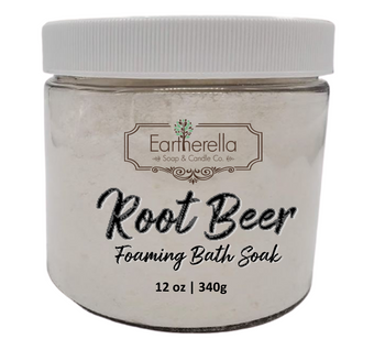 Naked ROOT BEER scented Fizzy Bath Soak with Epsom salts, Large 12 oz jar