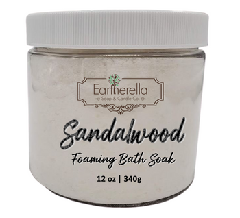 Naked SANDALWOOD scented Fizzy Bath Soak with Epsom salts, Large 12 oz jar