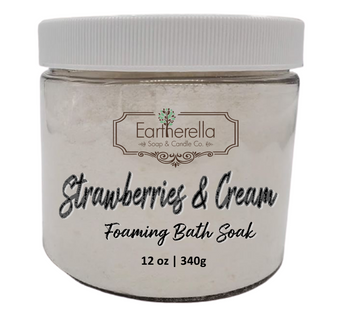 Naked STRAWBERRIES & CREAM scented Fizzy Bath Soak with Epsom salts, Large 12 oz jar
