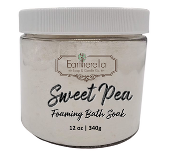 Naked SWEET PEA scented Fizzy Bath Soak with Epsom salts, Large 12 oz jar