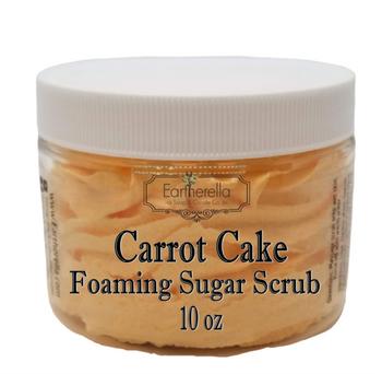 CARROT CAKE Exfoliating Foaming Sugar Body Scrub, 10 oz jar