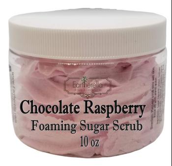 CHOCOLATE RASPBERRY Exfoliating Foaming Sugar Body Scrub, 10 oz jar
