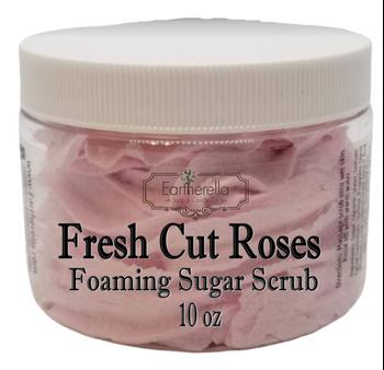 FRESH CUT ROSES Exfoliating Foaming Sugar Body Scrub, 10 oz jar