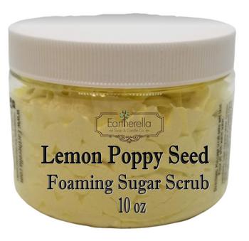 LEMON POPPY SEED Exfoliating Foaming Sugar Body Scrub, 10 oz jar