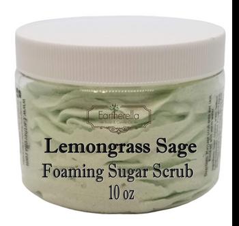 LEMONGRASS SAGE Exfoliating Foaming Sugar Body Scrub, 10 oz jar
