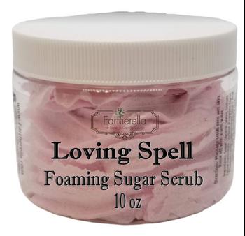 LOVING SPELL Exfoliating Foaming Sugar Body Scrub, 10 oz jar
