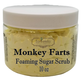 MONKEY FARTS Exfoliating Foaming Sugar Body Scrub, 10 oz jar