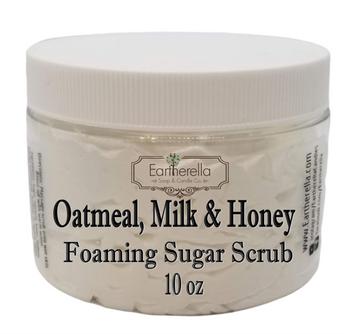 OATMEAL MILK & HONEY Exfoliating Foaming Sugar Body Scrub, 10 oz jar
