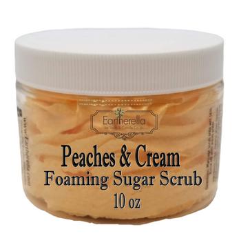 PEACHES & CREAM Exfoliating Foaming Sugar Body Scrub, 10 oz jar