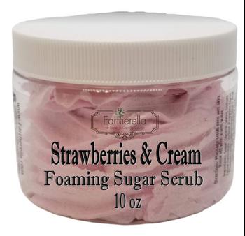 STRAWBERRIES & CREAM Exfoliating Foaming Sugar Body Scrub, 10 oz jar
