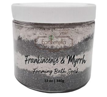 FRANKINCENSE & MYRRH scented Fizzy Bath Soak with Epsom salts, Large 12 oz jar
