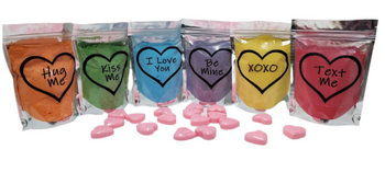 VARIETY 6-Pack CONVERSATION HEARTS Bath Bomb Dust | 5 oz bags | Valentine's Day Gift | Epsom Salt Soak | Gift for Kids | Gift for Her