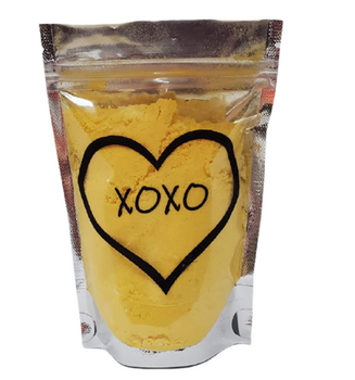Yellow SUNFLOWERS Conversation Hearts Bath Bomb Dust w/heart soap   5 oz bag   Valentine's Day Gift   Epsom Salt Soak