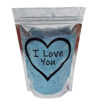 BLUE HAWAIIAN Conversation Hearts Bath Bomb Dust w/heart soap | 5 oz bag | Valentine's Day Gift | Epsom Salt Soak