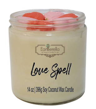 LOVE SPELL 14 oz Luxury Jar Candle with wax hearts on top   Coconut Soy Wax Blend   Mother's Day Gift   Gift for Her